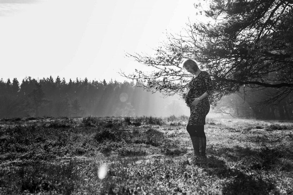 Zwangerschapsfotografie op de heide van Bussum